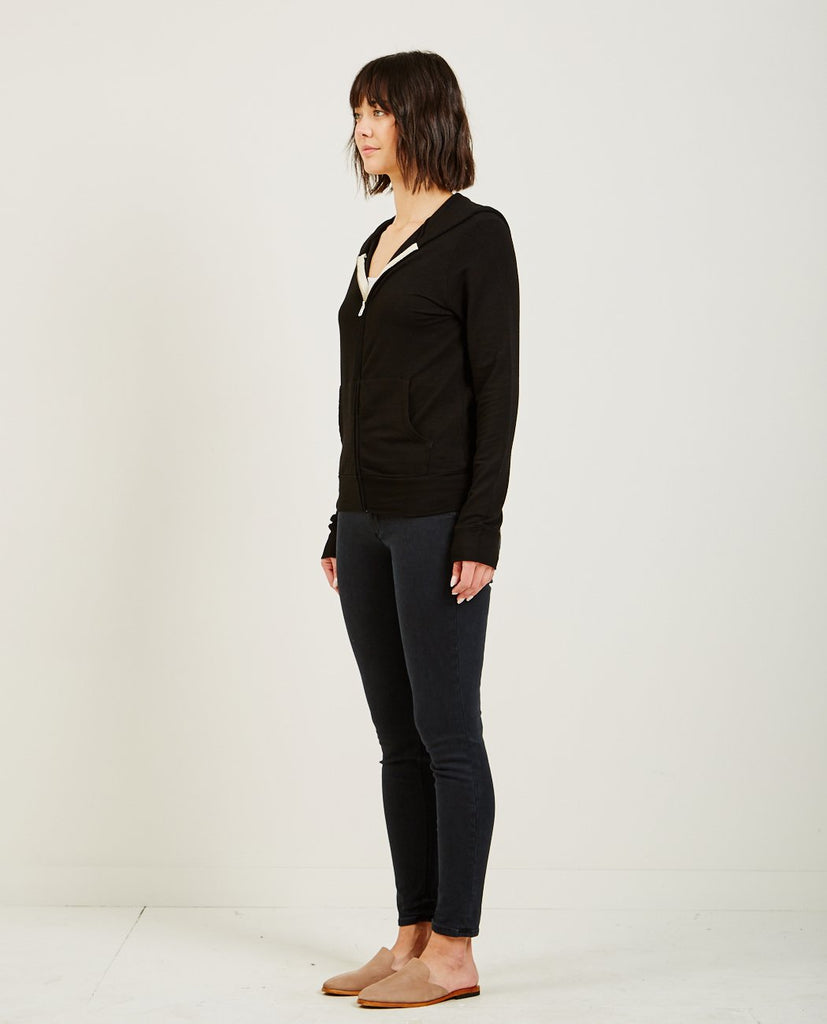 MONROW-SUPERSOFT ZIP UP HOODY BLACK-Women Sweaters + Sweatshirts-{option1]