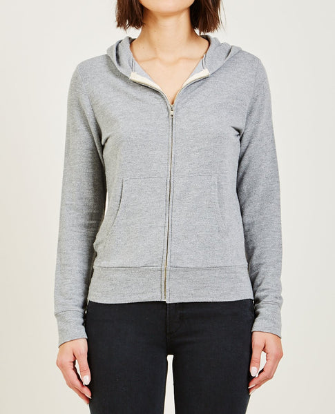 MONROW Supersoft Zip Up Hoody Dark Heather