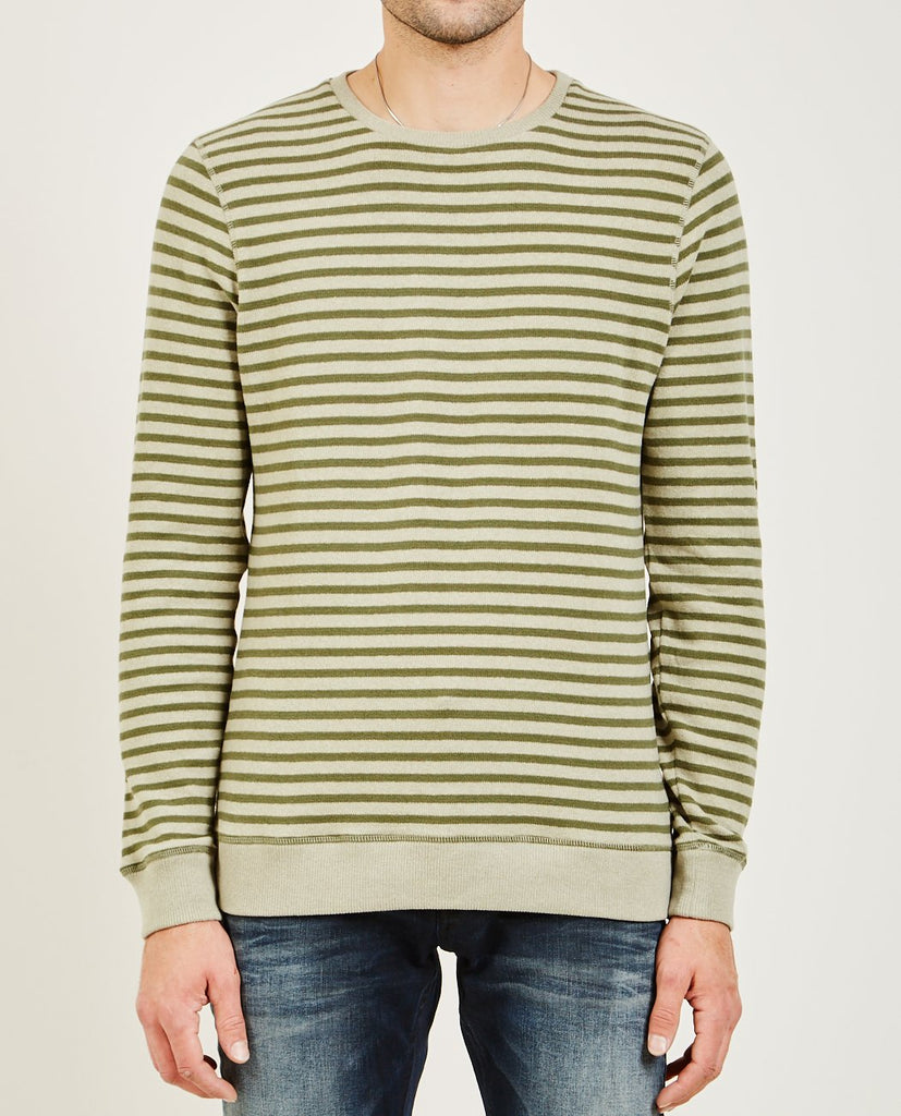 DENHAM-TAB STRIPE KNIT SWEATER CFJS GREEN-Men Sweaters + Sweatshirts-{option1]