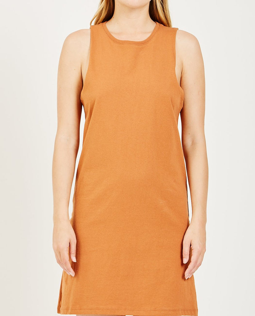 RICHER POORER-TANK DRESS TOBACCO-Women Tees + Tanks-{option1]