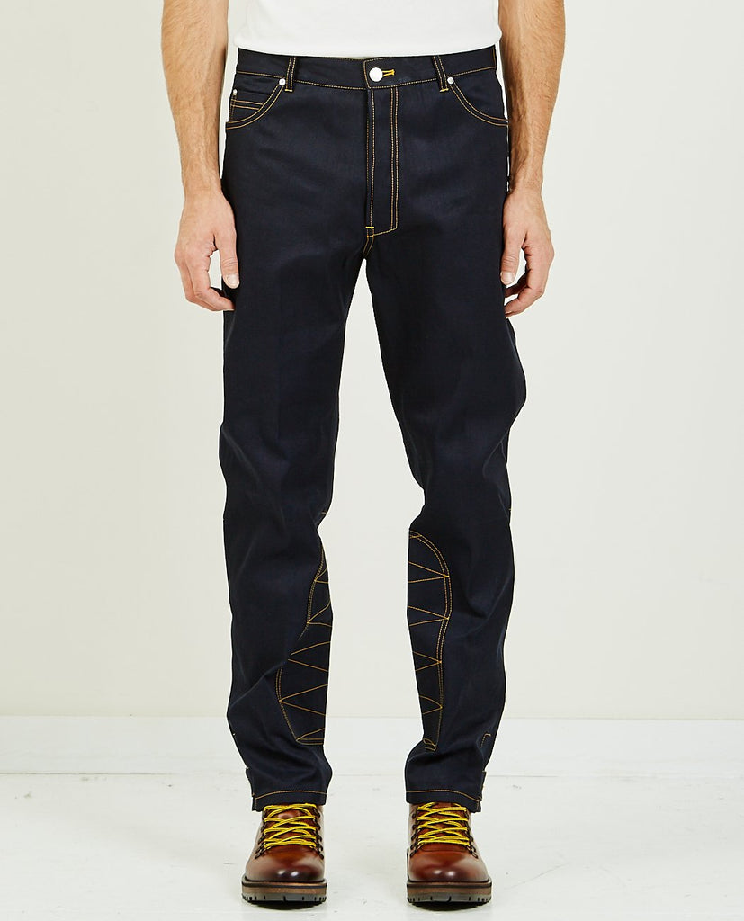 TAPERED DENIM WITH STRAPS-BAND OF OUTSIDERS-American Rag Cie