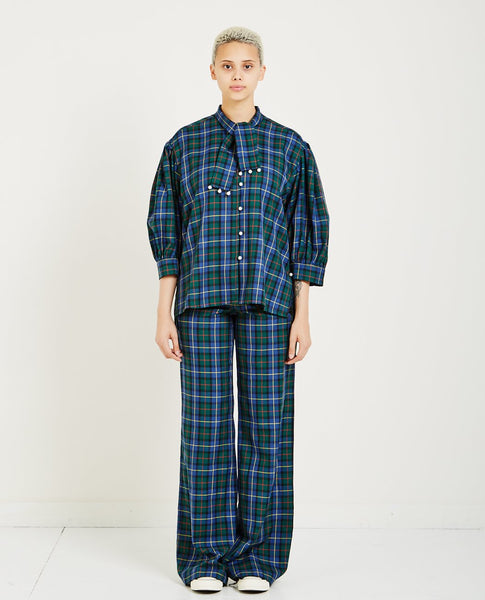 OPENING CEREMONY TARTAN PEARL BUTTON DOWN