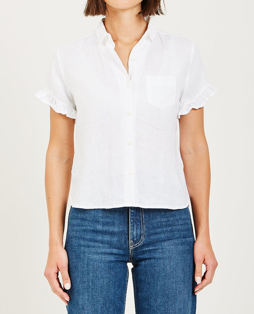 TROVATA-TESSA RUFFLE SLEEVE SHIRT WHITE-Blouses-{option1]