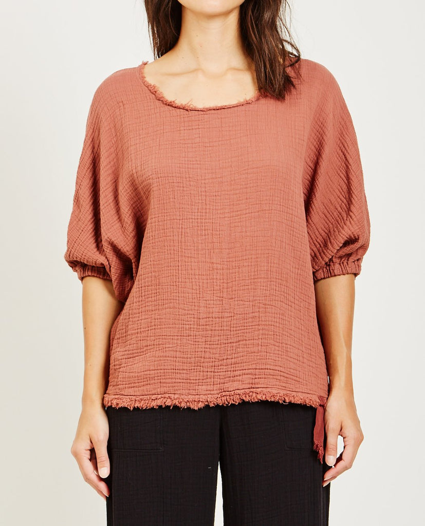 RAQUEL ALLEGRA-TEXTURED GAUZE DOLMAN TOP-Blouses-{option1]
