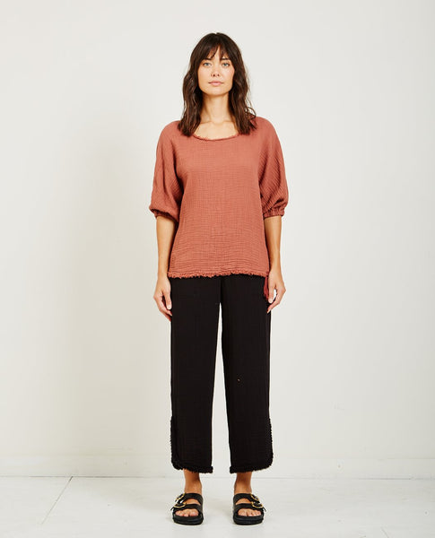 RAQUEL ALLEGRA TEXTURED GAUZE DOLMAN TOP