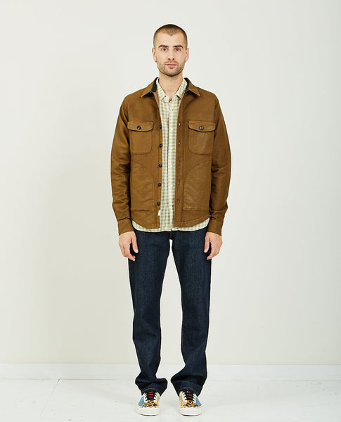 KATO THE ANVIL SHIRT JACKET BROWN COATING DOUBLE WEAVE