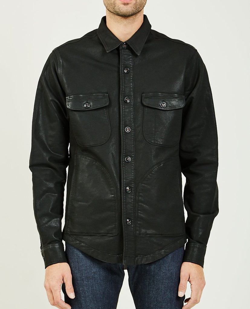 THE ANVIL SHIRT JACKET CHARCOAL GREY COATING DOUBLE WEAVE-KATO-American Rag Cie