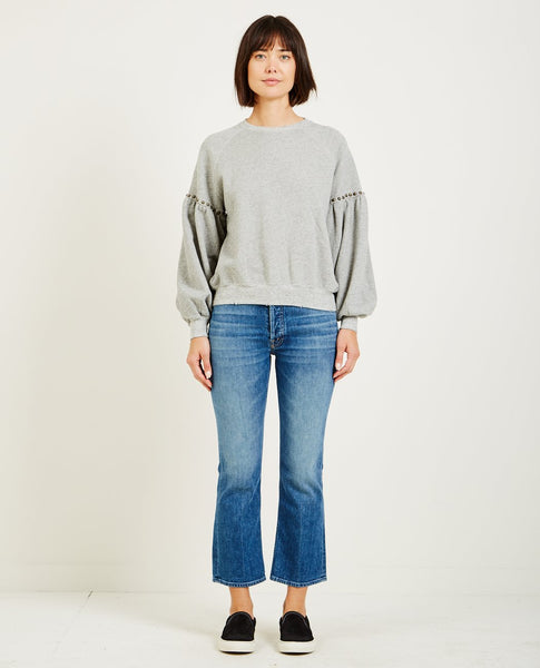 THE GREAT THE BISHOP SLEEVE SWEATSHIRT VINTAGE GREY WITH STUDS