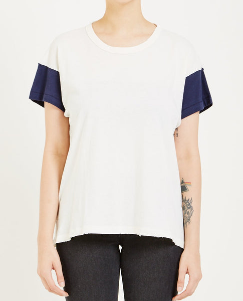 THE GREAT THE BOXY CREW TEE WASHED WHITE & NAVY