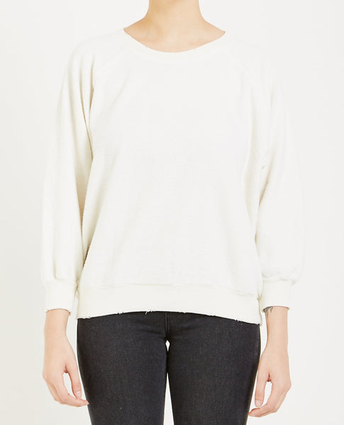 THE GREAT THE BUBBLE SWEATSHIRT WASHED WHITE