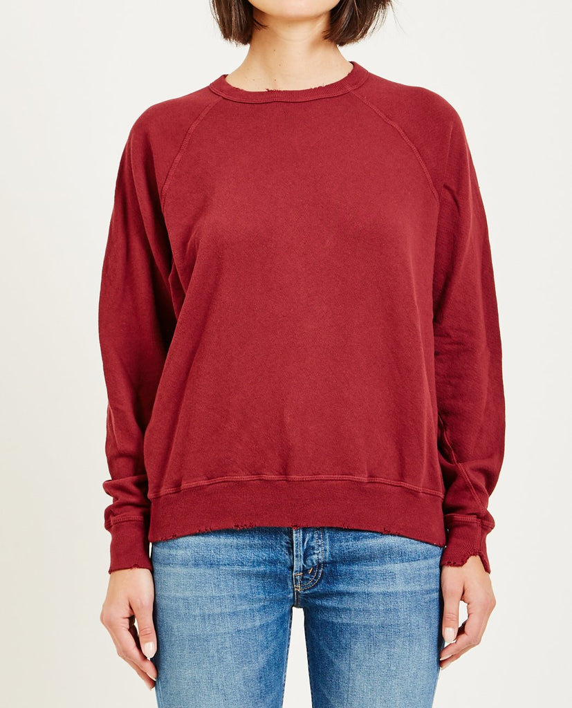 THE GREAT-THE COLLEGE SWEATSHIRT VINTAGE RED-Women Sweaters + Sweatshirts-{option1]