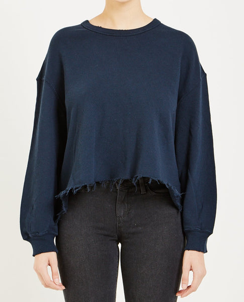 THE GREAT THE CUT OFF SWEATSHIRT NAVY