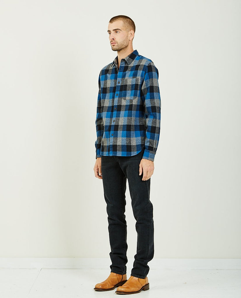 KATO-The Ripper Blue Black Vintage Plaid-Men Shirts-{option1]