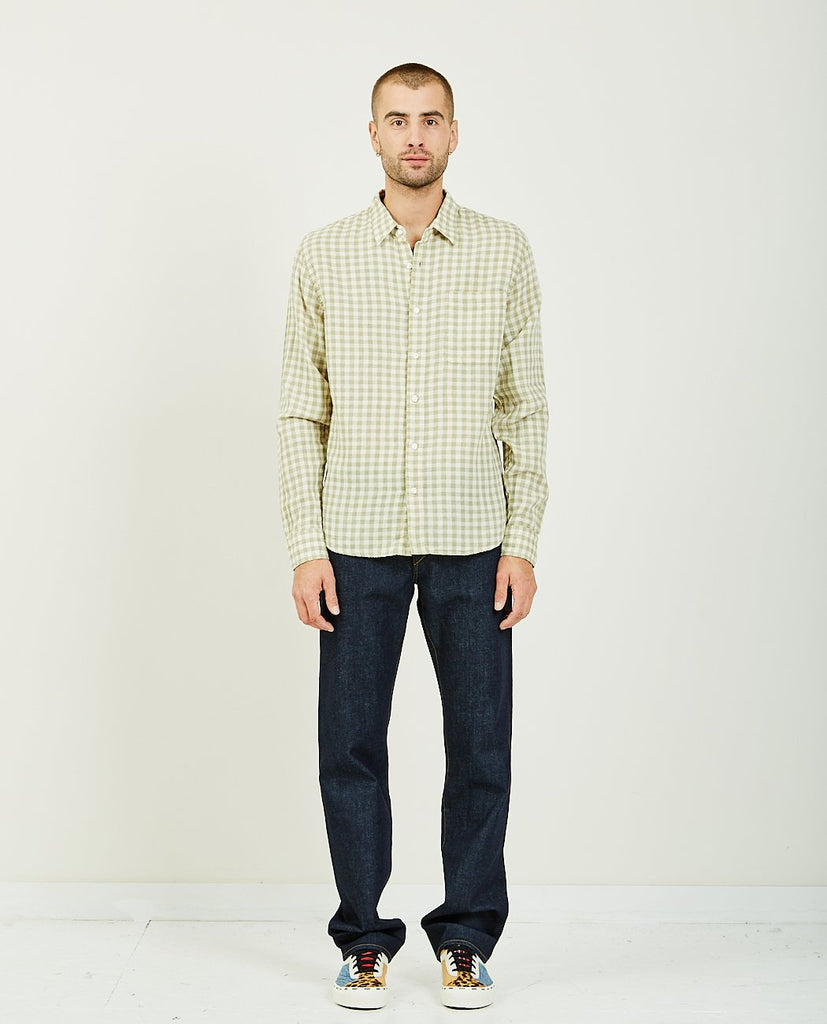 KATO-The Ripper Green Gingham Double Gauze-Men Shirts-{option1]
