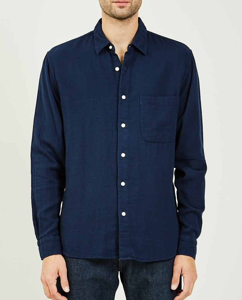 KATO-The Ripper Navy Vintage Double Gauze-Men Shirts-{option1]