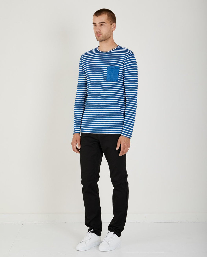 AR321-Thick Stripe Indigo Crewneck-Men Tees + Tanks-{option1]