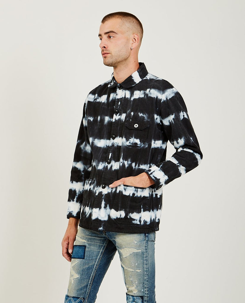 FDMTL-Tie Dye Shibori Coverall Black-Men Coats + Jackets-{option1]