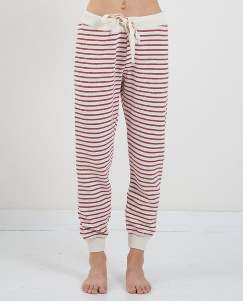 THE GREAT TIE SWEATPANT BRICK RED STRIPE