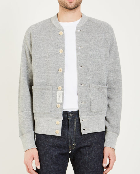 RRL TRACK JACKET SWEATER- GREY HTH