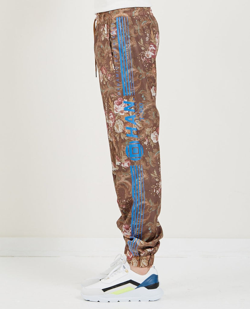 HAN KJOBENHAVN-TRACK PANT BROWN FLOWER-Men Pants-{option1]