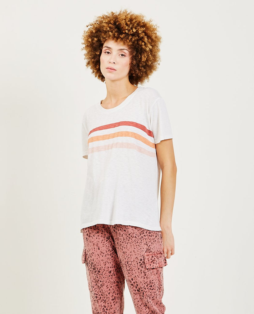 SUNDRY-Tri Stripes Vintage Tee-Women Tees + Tanks-{option1]