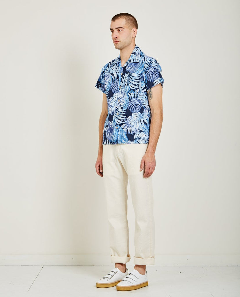 TROPICAL LEAVES ALOHA SHIRT NAVY-NAKED & FAMOUS-American Rag Cie