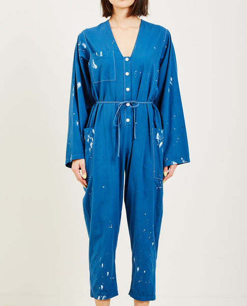RAQUEL ALLEGRA UTILITY COTTON BOILER SUIT NAVY PAINT