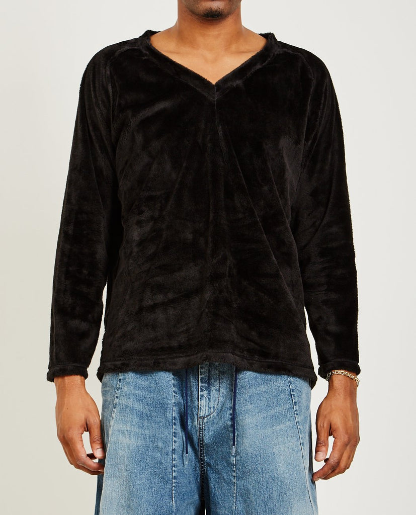 NEEDLES-V-NECK L/S TEE MICRO FLEECE-Men Sweaters + Sweatshirts-{option1]