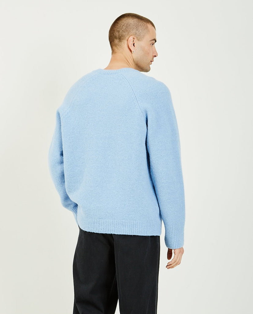 OUR LEGACY-V Neck Raglan Fuzzy Baby Blue-Men Sweaters + Sweatshirts-{option1]