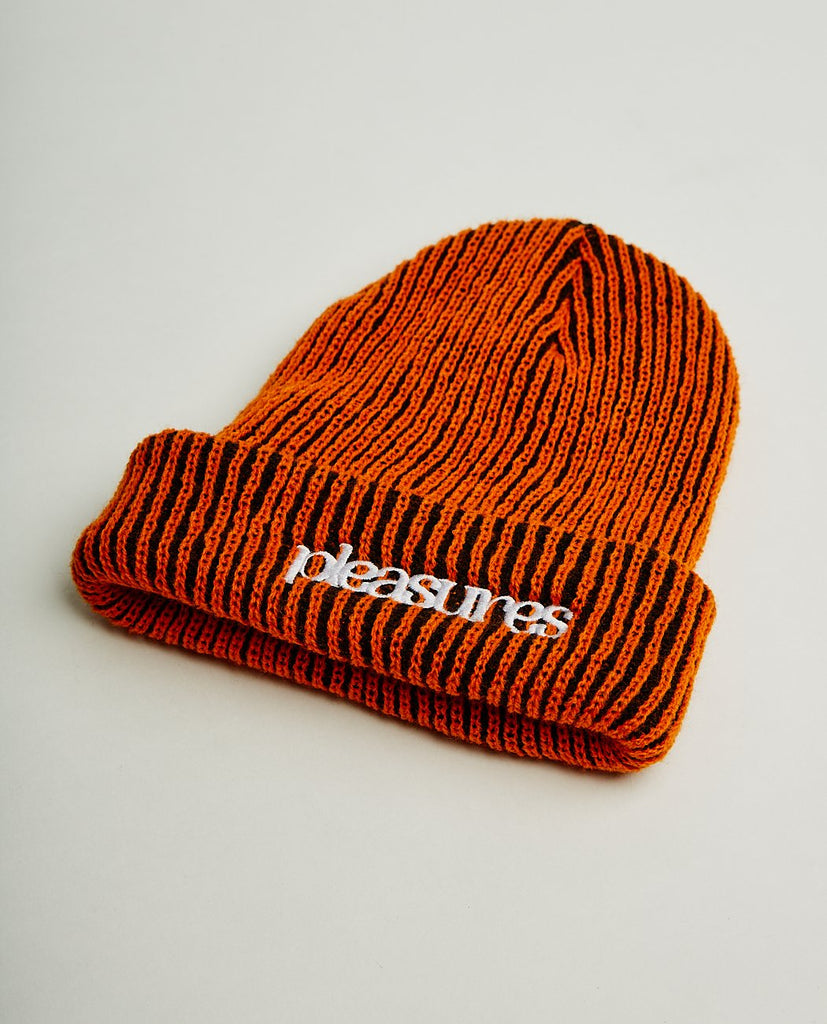 PLEASURES-VIOLATION STRIPED BEANIE-Men Hats-{option1]