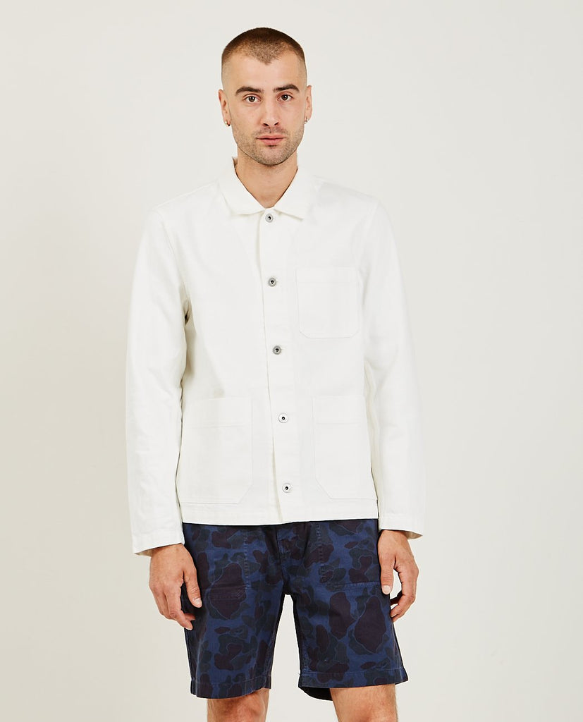 ALEX MILL-White Denim Work Jacket-Men Coats + Jackets-{option1]