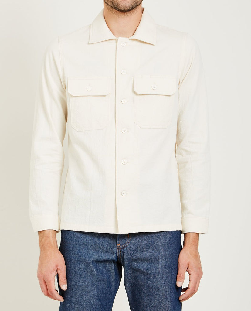 WORK SHIRT HEAVY OXFORD BONE-NAKED & FAMOUS-American Rag Cie
