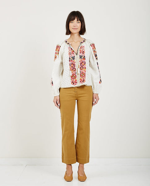ULLA JOHNSON YARA BLOUSE CREAM