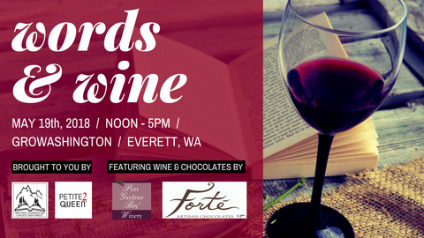 Words with Wine Event May 19th, GroWashington, Everett