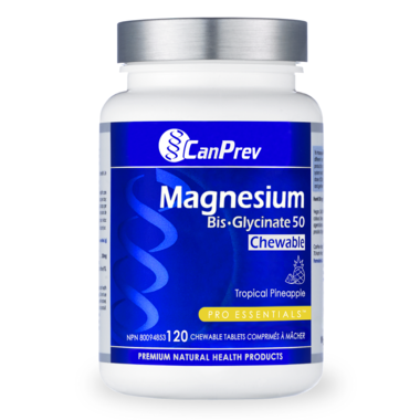CanPrev Magnesium Bis-Glycinate 50mg Chewable Tropical Pineapple 120 Chewable Tablets