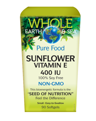 Whole Earth and Sea Pure Food Natural Factors Sunflower Vitamin E 400 IU 90 softgels