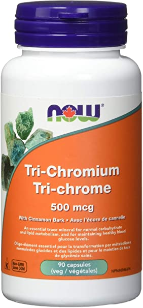 NOW Tri-Chromium 500 mcg with Cinnamon Bark Veg Capsules