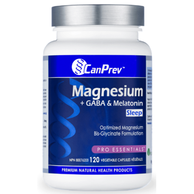 CanPrev Magnesium + GABA & Melatonin for Sleep 120 Vegetable Capsules