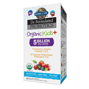 Garden of Life Dr. Formulated Probiotics Organic Kids+ Chewables Berry Cherry Flavour 30 Chewables