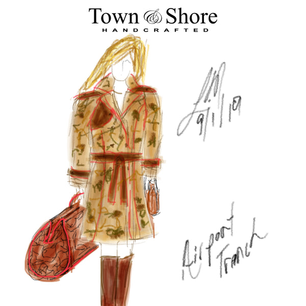 Town & Shore Handcrafted Fortunal Trench Coat and Travel bag sketch, Designer/Maker Liv McClintock