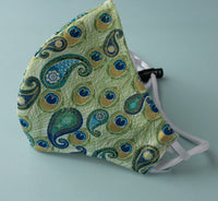 Cotton Fitted Face Mask w/ Adjustable Elastic Strap – Peacock Paisley