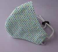 Cotton Fitted Face Mask w/ Adjustable Elastic Strap – Teal Confetti