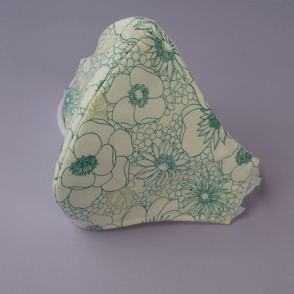 Cotton Fitted Face Mask w/ Adjustable Elastic Strap – Teal Sketch Floral