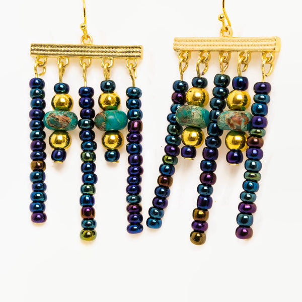 Bespoke Exotica Gold and Jewel-tone Multi-strand Chandelier Earrings with Imperial Jasper