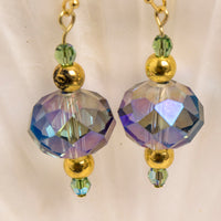 Bespoke Atlantis Blue-tone Dangle Earring  w/Swarovski Crystal, 14k Gold Plated Earwires