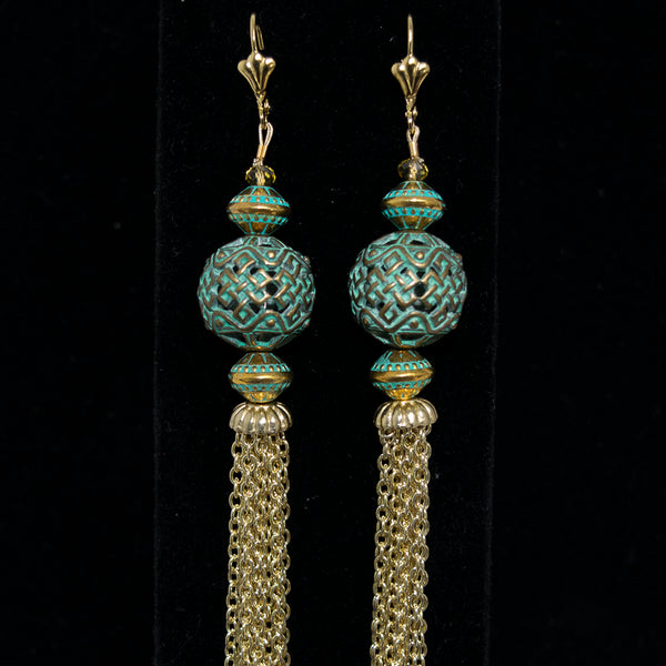 Exotica Multi-strand Tassel Earring in Oxidized Brass