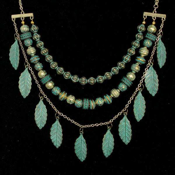 Bespoke Exotica 3-Strand Necklace in Oxidized Brass