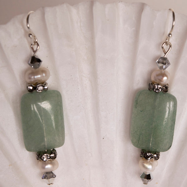 Bespoke Atlantis Drop Earring Polished Quartzite and Cultured Pearl