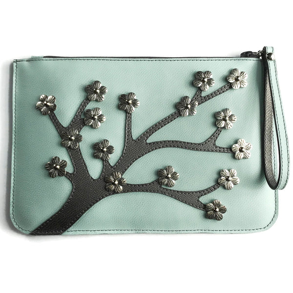 Town & Shore Handcrafted Anna 3D Leather Cherry Blossom Pouch in Jade / Grey . Limited-edition Clutch Bag (Front View)