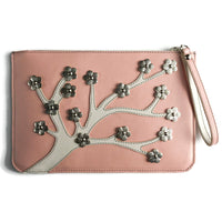 Town & Shore Handcrafted Anna 3D Leather Cherry Blossom Pouch in Peach / Cream. Limited-edition Clutch Bag (Front View)